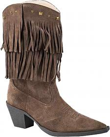 Roper Suede Fringe Cowgirl Boots - Snip Toe