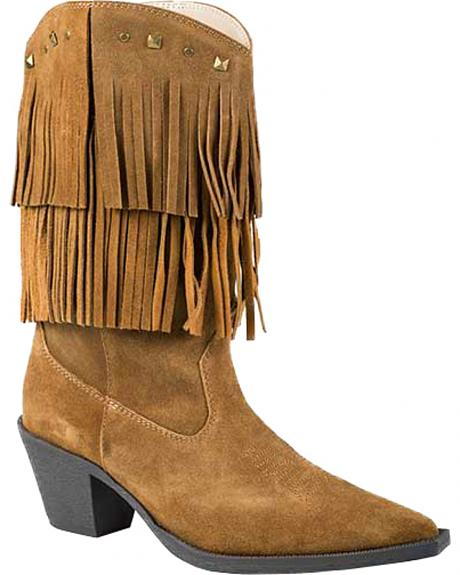 Roper Tan Suede Fringe Cowgirl Boots - Pointed Toe