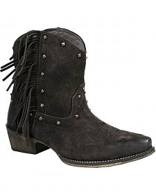 Roper Women's Black Fringe Short Boots - Snip Toe