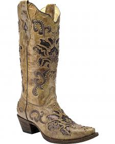 Corral Vintage Honey Brown Studded Cowgirl Boots - Snip Toe