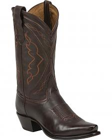 Tony Lama Chocolate Jersey Calf Cowgirl Boots - Snip Toe