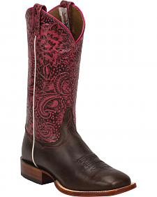 Tony Lama Midnight Brown Fargo Cowgirl Boots - Square Toe