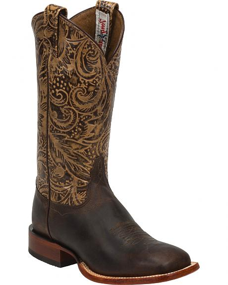 Tony Lama Brown Saigets Cowgirl Boots - Square Toe