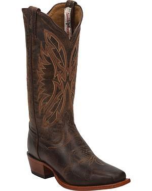 Tony Lama Chocolate Saigets Cowgirl Boots - Square Toe