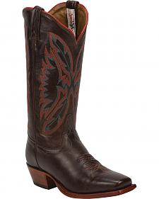 Tony Lama Chocolate Fargo Cowgirl Boots - Square Toe