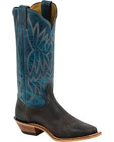 Tony Lama Dark Blue Americana Cowgirl Boots - Square Toe