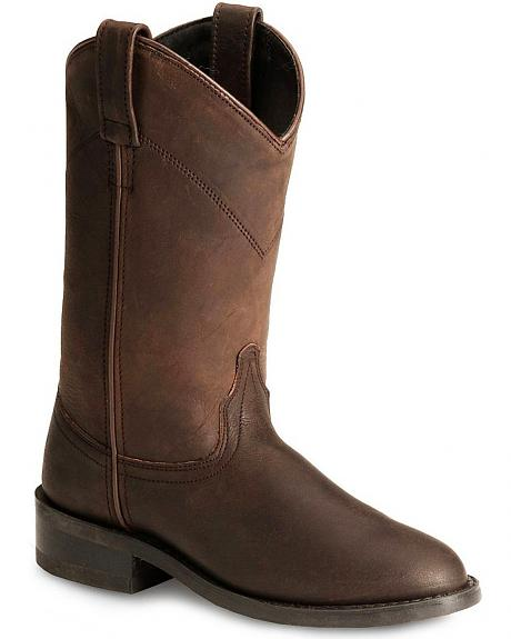 Old West Distressed Leather Cowgirl Roper Boots