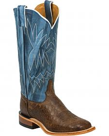 Tony Lama Chocolate Reverse Quill Print Americana Cowgirl Boots - Square Toe
