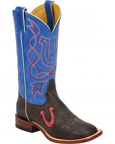 Tony Lama Blue & Chocolate Americana Cowgirl Boots - Square Toe