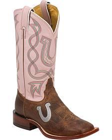 Tony Lama Pink Horseshoe Saigets Cowgirl Boots - Square Toe