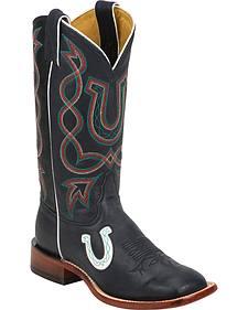 Tony Lama Black Ol' Buck San Saba Cowgirl Boots - Square Toe