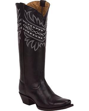 Tony Lama Black Baja 100% Vaquero Cowgirl Boots - Square Toe