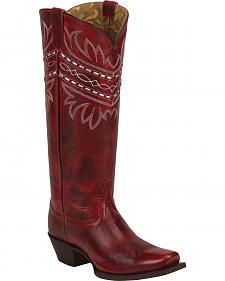 Tony Lama Red Baja 100% Vaquero Cowgirl Boots - Square Toe
