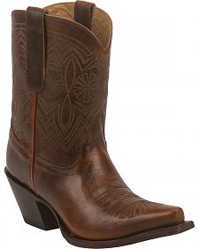 Tony Lama Tan Baja 100% Vaquero Cowgirl Booties - Snip Toe