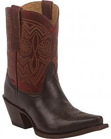 Tony Lama Women's Chocolate Baja 100% Vaquero Western Booties - Snip Toe