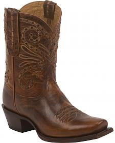 Tony Lama Tan Baja 100% Vaquero Cowgirl Booties - Square Toe