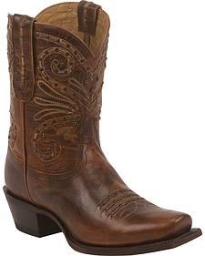 Tony Lama Tan Baja 100% Vaquero Cowgirl Booties - Square Toe