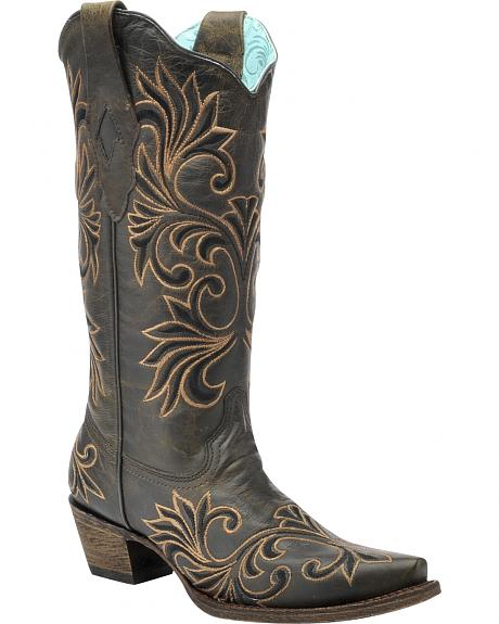 Corral Vintage Chocolate and Gold Cowgirl Boots - Snip Toe