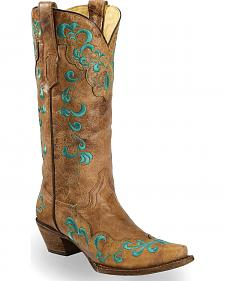Corral Vintage Brown Scroll Overlay Cowgirl Boots - Snip Toe