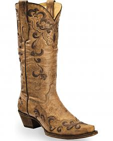 Corral Vintage Tan Embroidered Overlay Cowgirl Boots - Snip Toe