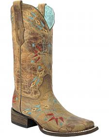 Corral Vintage Saddle Embroidered Cowgirl Boots - Square Toe