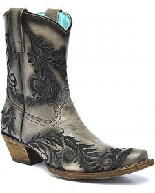 Corral Vintage Black Burnished Embroidered Side Short Cowgirl Boots - Square Toe