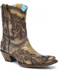 Corral Vintage Brown Burnished Embroidered Side Short Cowgirl Boots - Square Toe