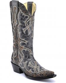 Corral Vintage Black Laser Cowgirl Boots - Snip Toe