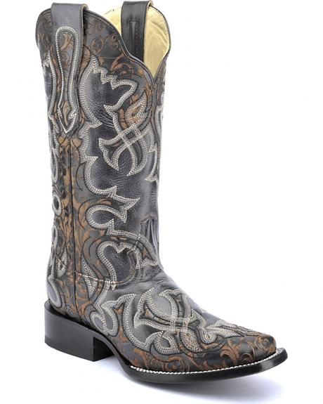 Corral Vintage Black & Brown Laser Cowgirl Boots - Square Toe