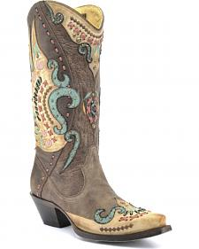 Corral Swan Overlay Cowgirl Boots - Snip Toe