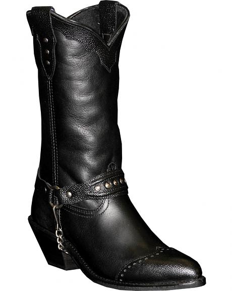 Abilene Sage Black Sting Ray Wingtip Cowgirl Boots - Round Toe