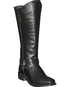 Abilene Women's Black Equestrian Wellington Boots - Square Toe