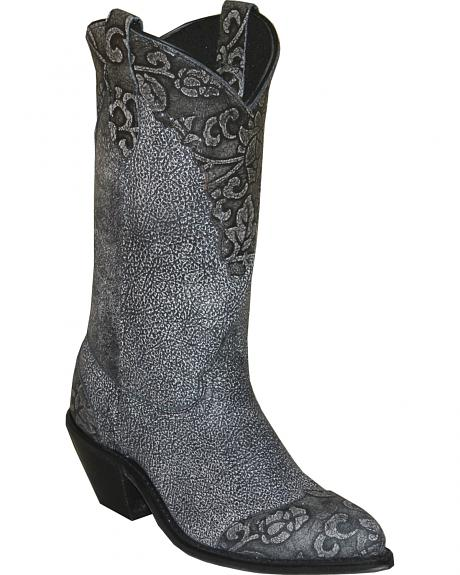 Abilene Black Sage Floral Cowgirl Boots - Round Toe