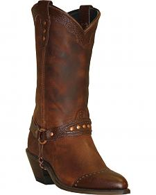Abilene Sage Brown Sting Ray Wingtip Cowgirl Boots - Round Toe