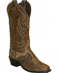 Abilene Brown Textured Cowgirl Boots - Square Toe