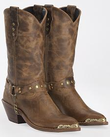 Abilene Distressed Tan Harness Cowgirl Boots - Round Toe