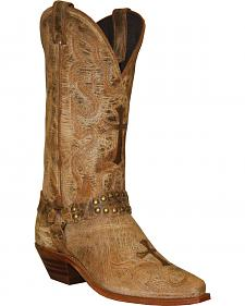 Abilene Distressed Tan Cross Cowgirl Boots - Round Toe