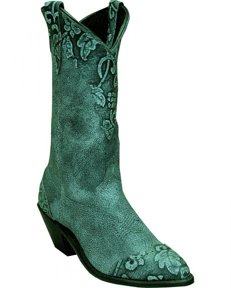 Abilene Turquoise Sage Floral Cowgirl Boots - Round Toe