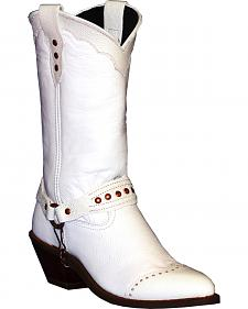 Abilene Sage White Sting Ray Wingtip Cowgirl Boots - Round Toe