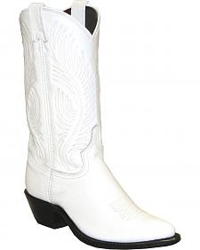 Abilene White Western Cowgirl Boots - Round Toe