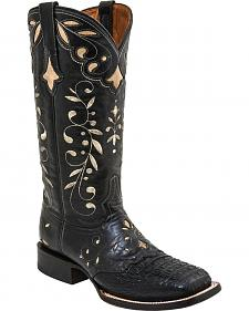 Lucchese Sherilyn Caiman Cowgirl Boots - Square Toe