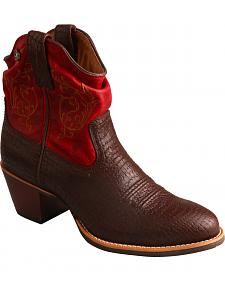 Twisted X Brown & Red Slouch Fashion Cowgirl Boots - Round Toe