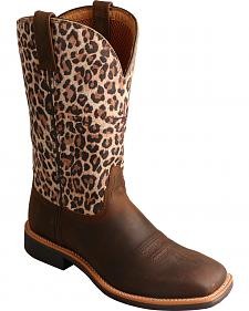 Twisted X Brown Leopard Top Hand Cowgirl Boots - Square Toe