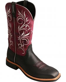 Twisted X Maroon Top Hand Cowgirl Boots - Square Toe