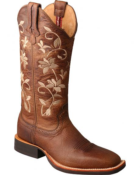 Twisted X Women's Brown Floral Ruff Stock Cowgirl Boots - Square Toe