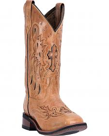Laredo Women's Tan Cowgirl Boots - Square Toe