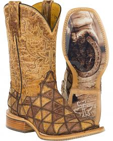 Tin Haul Tan Conquer the World Cowgirl Boots - Square Toe