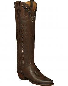 Lucchese Brown Danielle Goatskin Tall Cowgirl Boots - Pointed Toe
