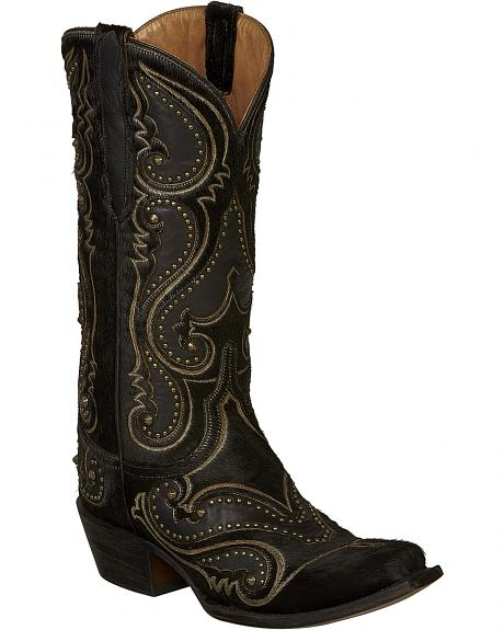 Lucchese Black Lyla Calf Hair Cowgirl Boots - Snip Toe