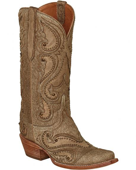 Lucchese Natural Lyla Calf Hair Cowgirl Boots - Snip Toe